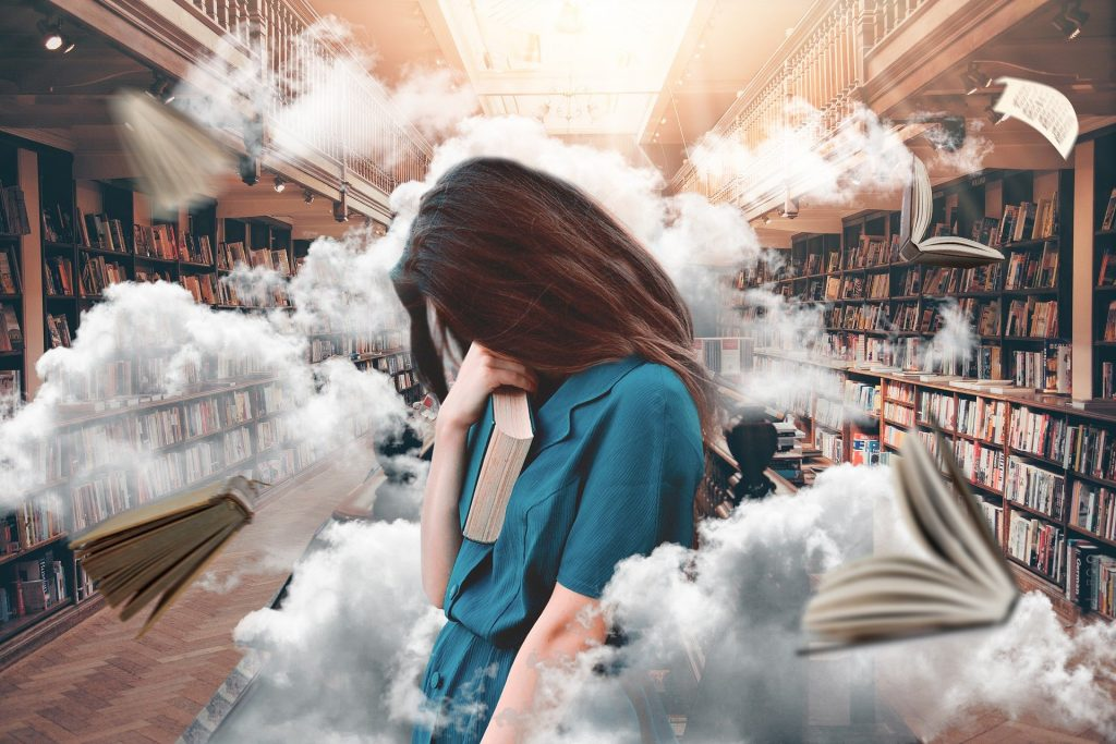 Stressed woman in library